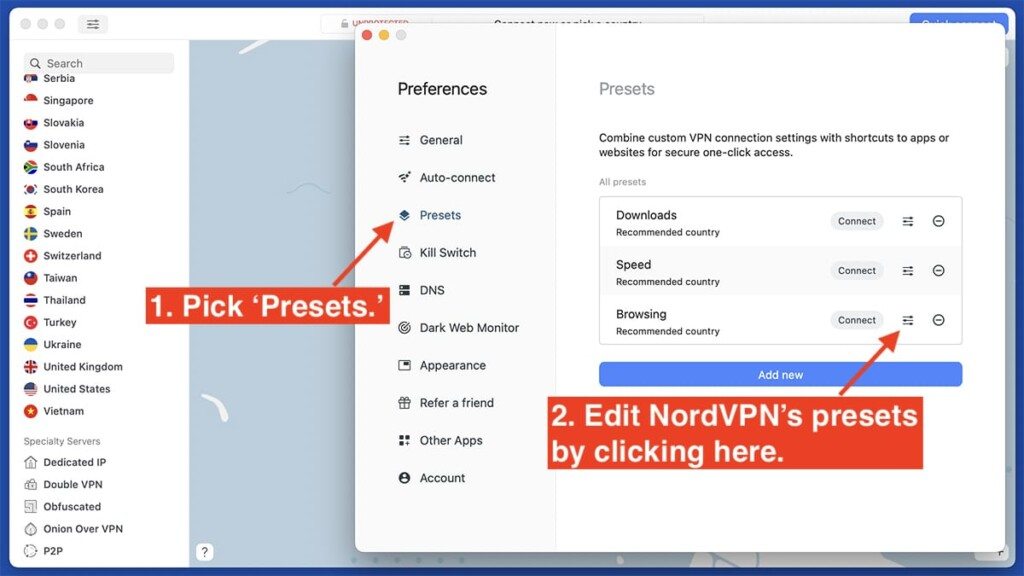 Editing NordVPN's Presets