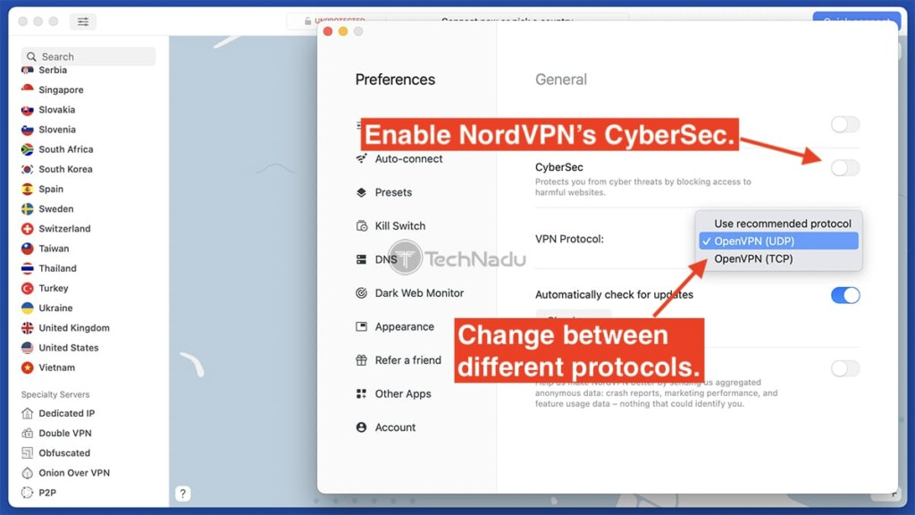 General Settings Page of NordVPN App