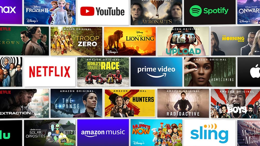 Grid Showing Fire TV Content and Apps