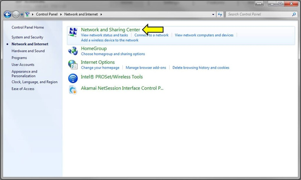Network and Sharing Center on Windows