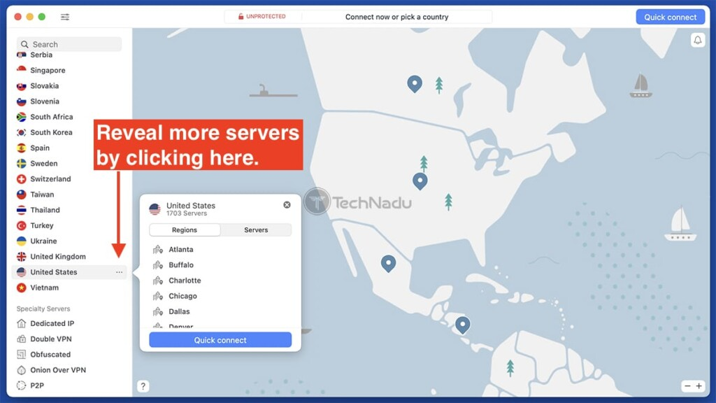 Revealing More Servers in NordVPN Interface