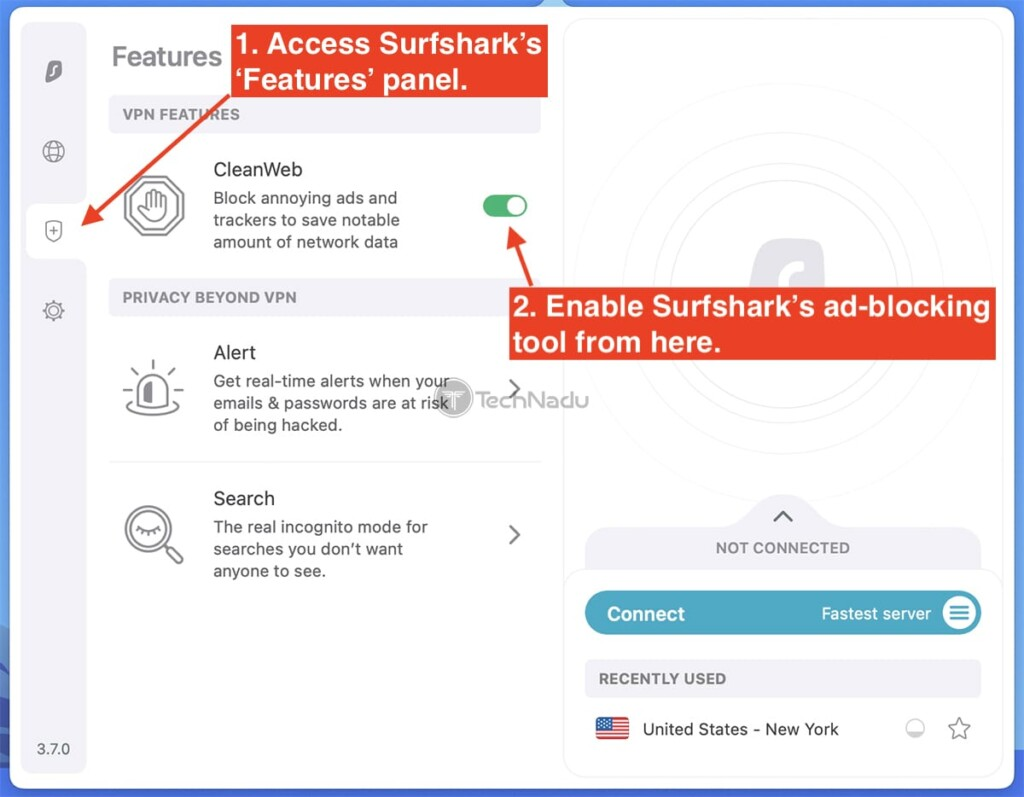 Steps to Enable CleanWeb by Surfshark
