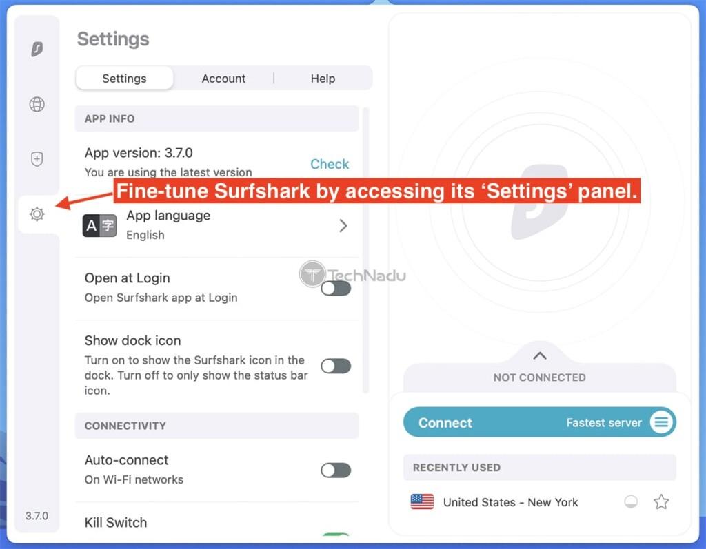 Surfshark's Settings on Mac