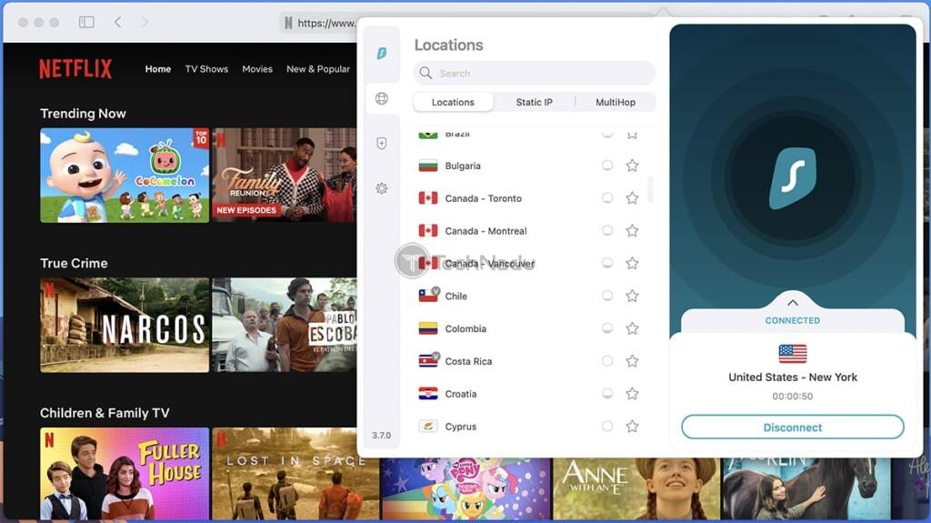 Watching Netflix via Surfshark on Mac
