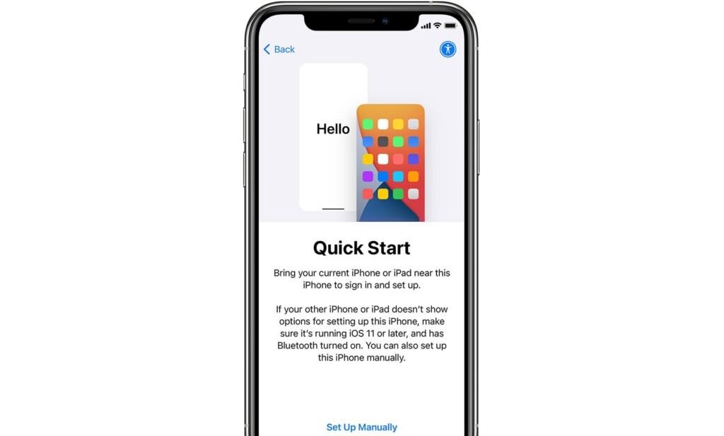 Quick Start Option on iPhone
