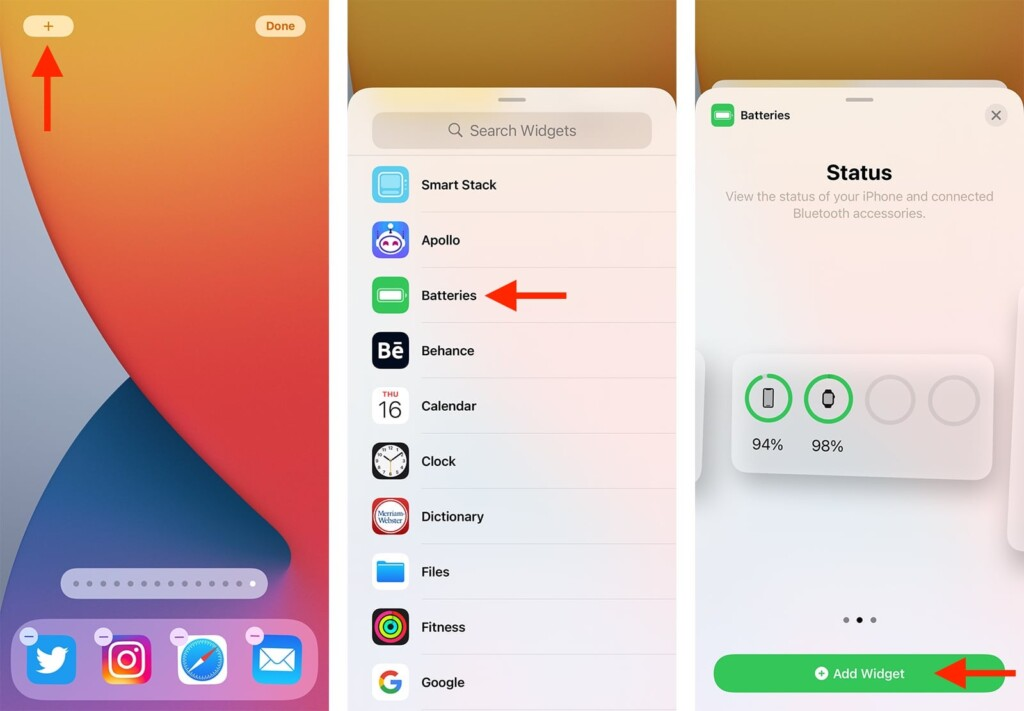 Revealing Battery Percentage on iPhone via Widgets