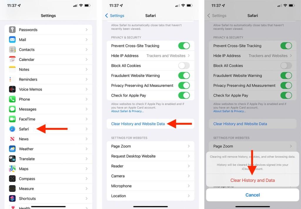 Steps to Delete Safari Cache in iOS 15