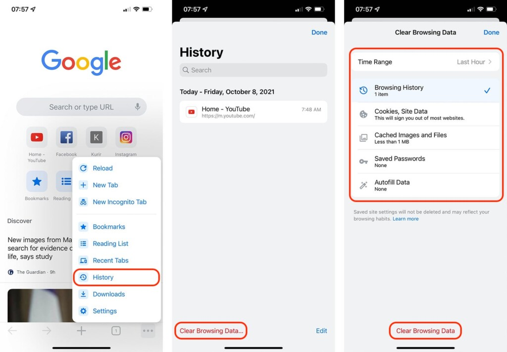 Steps to Clear History in Chrome on iOS