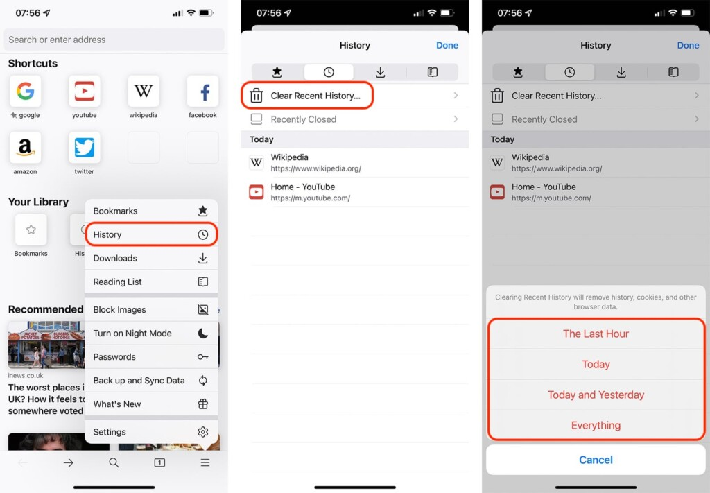Steps to Clear History on Firefox on iOS